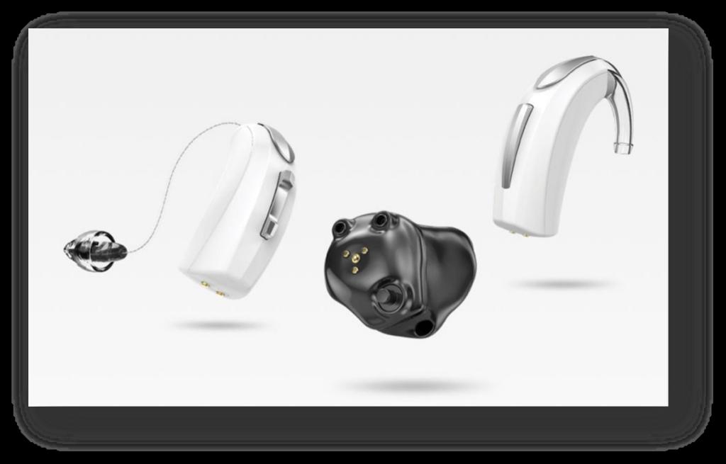 Picture of Starkey Livio AI hearing aids on white background