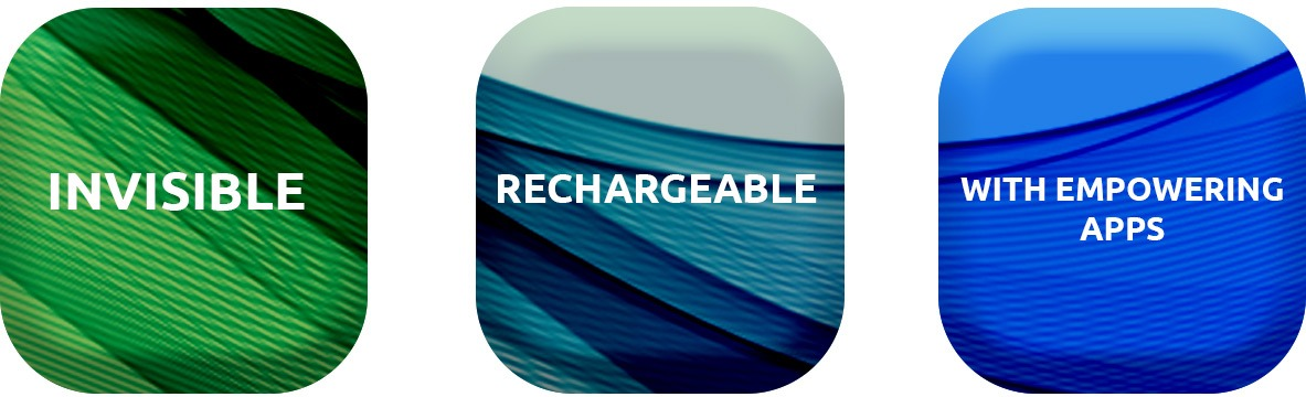 Three boxes with the words rechargeable, invisible and empowering apps on them